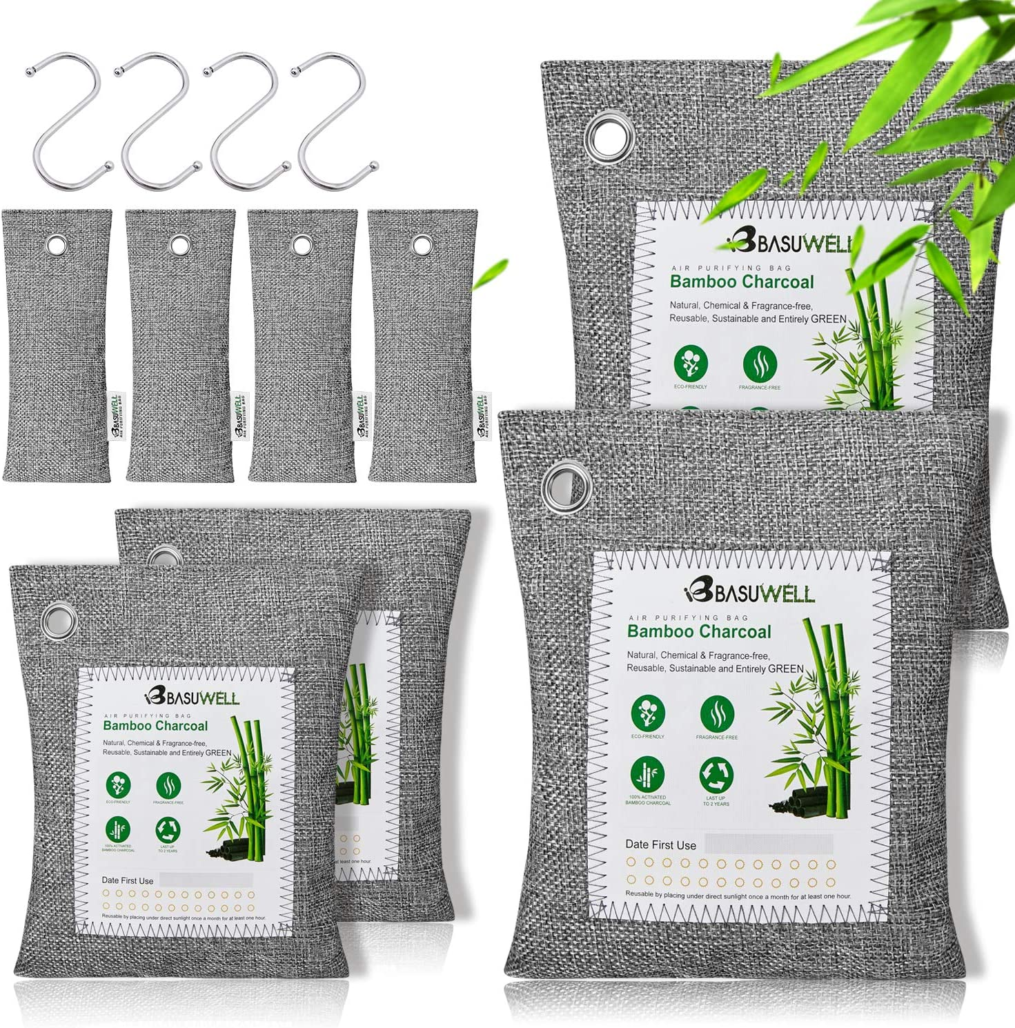 8 Pack Bamboo Charcoal Air Purifying Bags, Activated Charcoal Bags Odor Absorber, Moisture Absorber, Nature Fresh Air Purifier Bags, Odor Eliminators For Home, Pet, Closet (2x200g, 2x100g, 4x50g)