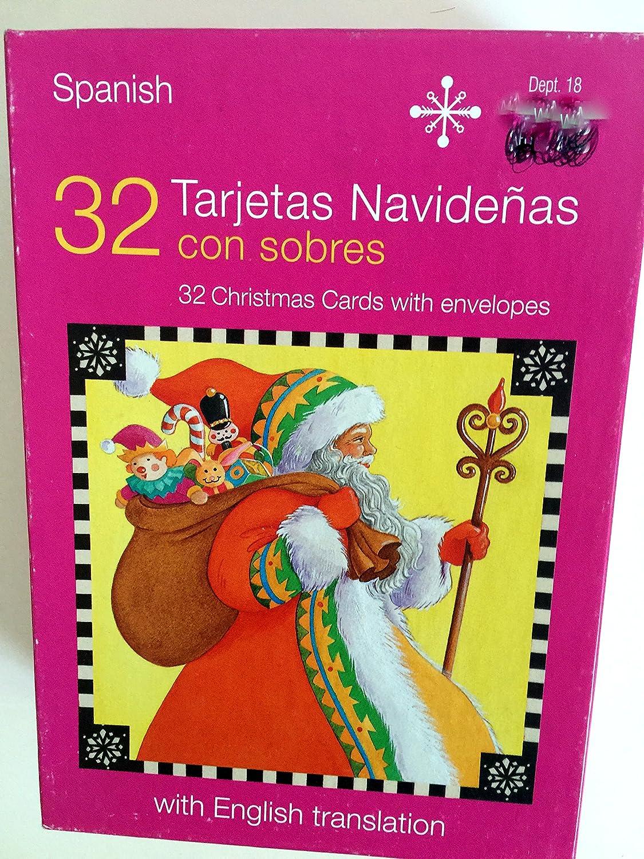 Amazon.com : Box of 32 Spanish Christmas Cards with English ...