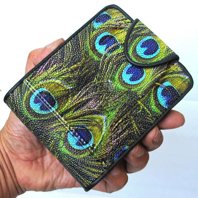 LUPADU Genuine Peacock Stingray Skin Leather Men'S Bifold Wallet