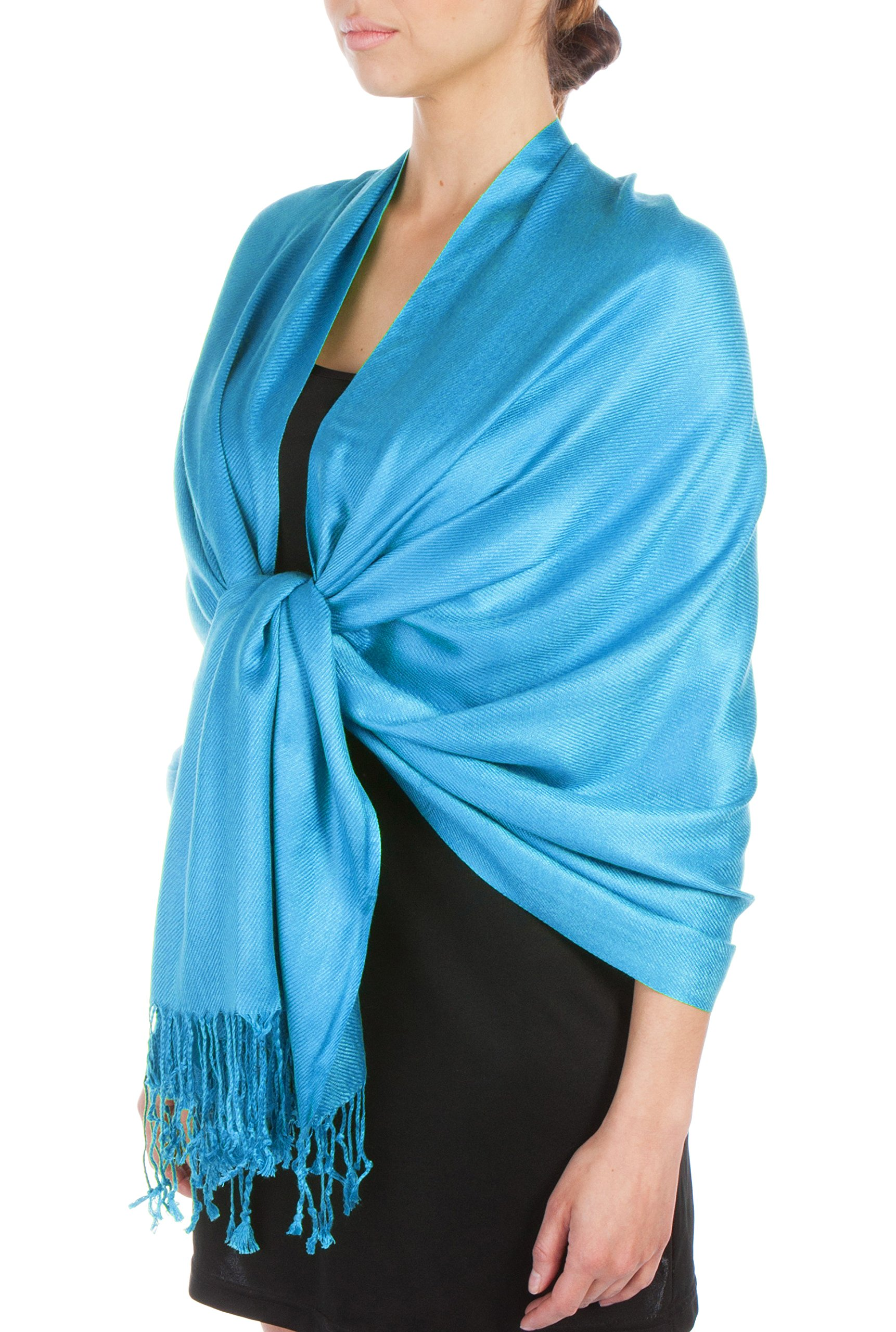 Sakkas Large Soft Silky Pashmina Shawl Wrap Scarf Stole in Solid Colors - Turquoise