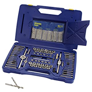 5. IRWIN HANSON Machine Screw/Fractional/Metric Tap and Hex Die and Drill Bit Deluxe Set, 117 Piece