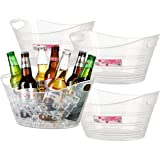 Zilpoo 4 Pack - Plastic Oval Storage Tub, 4.5 Liter Wine, Beer Bottle Drink Cooler, Parties Ice Bucket, Party Beverage…