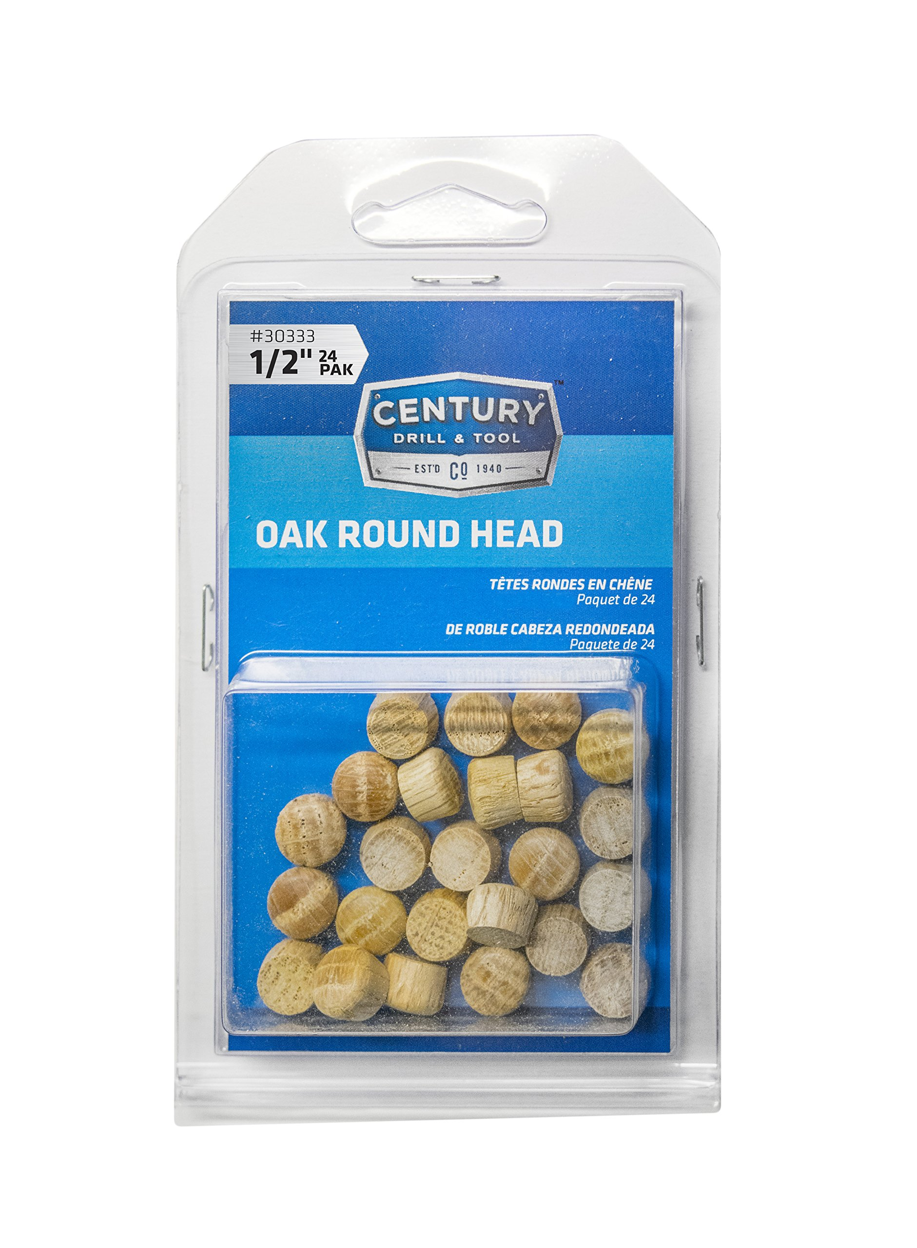 Century Drill and Tool 30333 Oak Round Head Wood Plug, 1/2-Inch