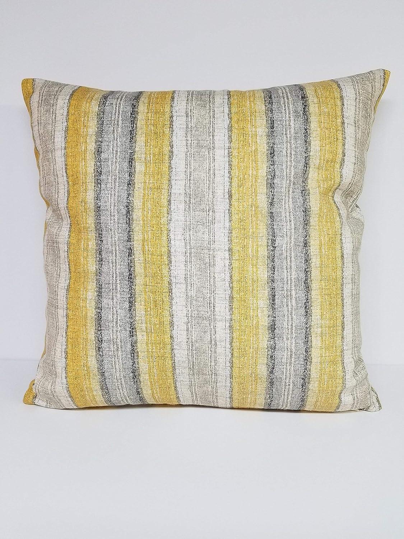 Gold Gray Stripe 18in x 18in Sq Pillow Cover
