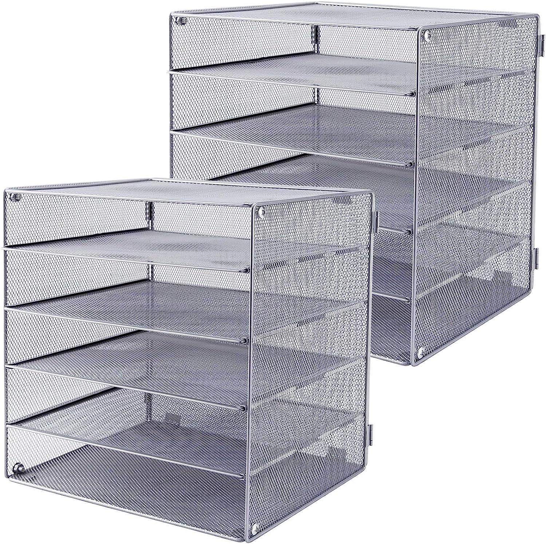 EASEPRES 5 Slot Desk Organizer Tray, Mesh File Paper Letter Tray Desktop Paper Sorter Literature Organizer Rack for Home, Office, or School, Silver, 2Pack