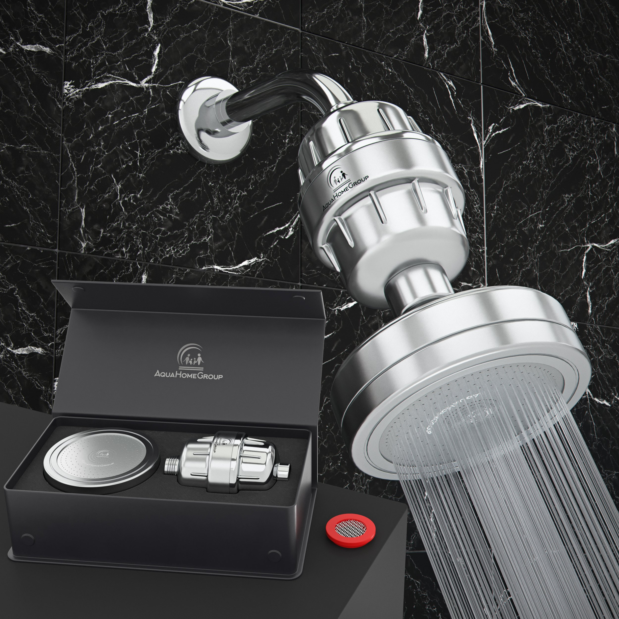 Luxury Filtered Shower Head Set Filter (Metal) Cartridge Vitamin C and E + 15-Stage Shower Water Filters - Universal Shower System - Helps Dry Skin & Hair Loss - Removes Chlorine & Sediments