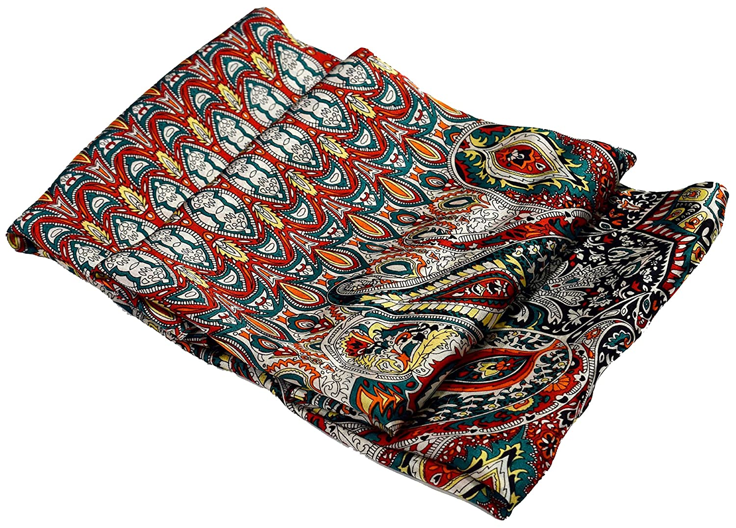 Green Red Orange Paisley Print Design Fine Silk Square Scarf
