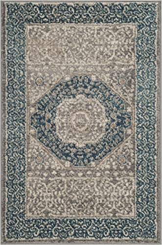 Safavieh Sofia Collection SOF365A Vintage Light Grey and Blue Center Medallion Distressed Area Rug 2 x 3