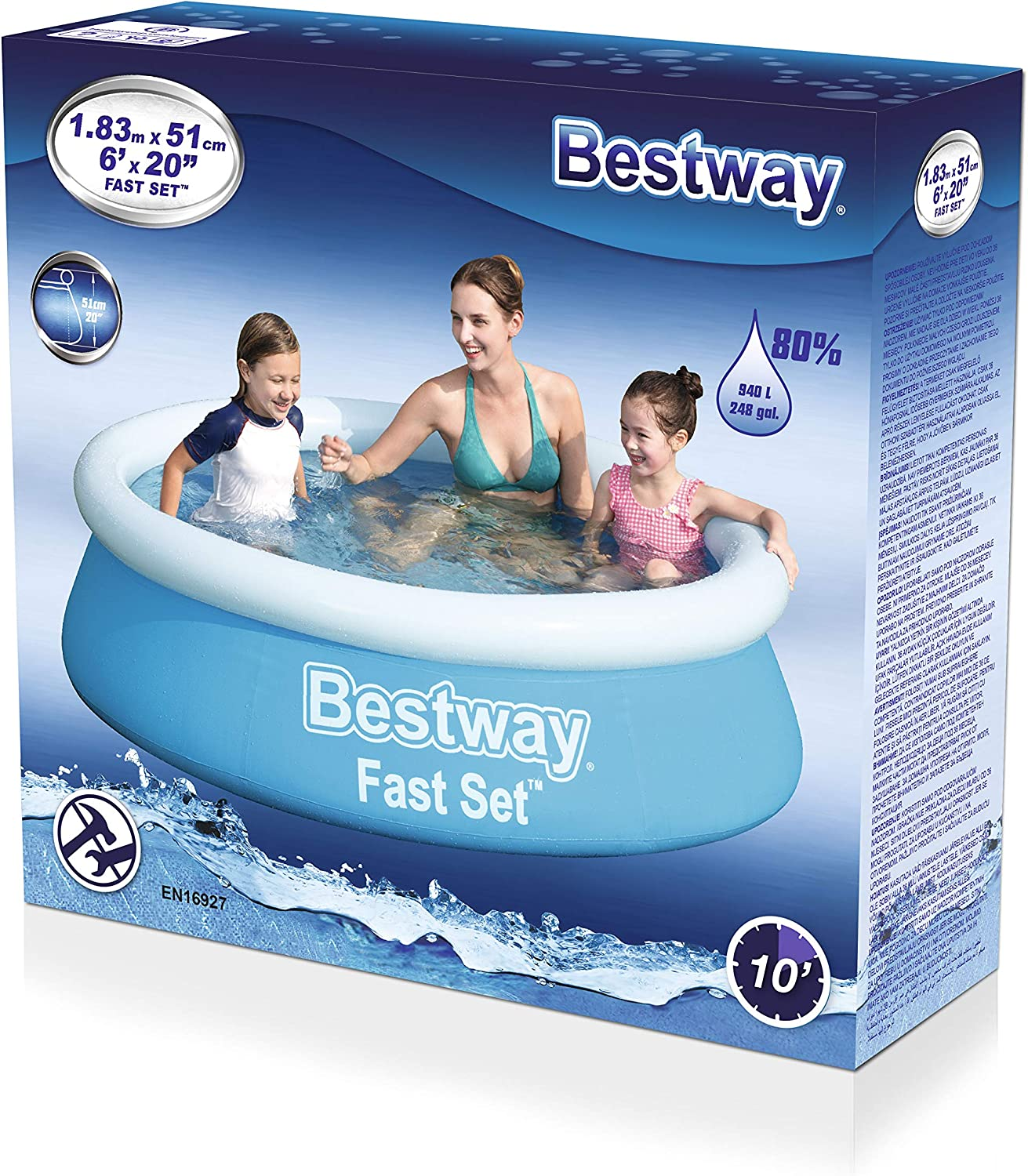 Bestway Piscina automontable 183x51, Azul: Amazon.es: Jardín