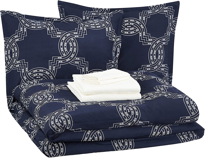 AmazonBasics 8-Piece Comforter Bedding Set, Full / Queen, Navy Nautical Knot, Microfiber, Ultra-Soft