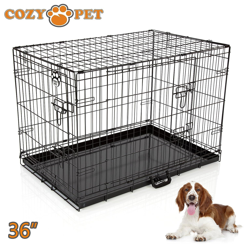 Cozy Pet Jaula de transporte para perros bandejas de metal tamaños y