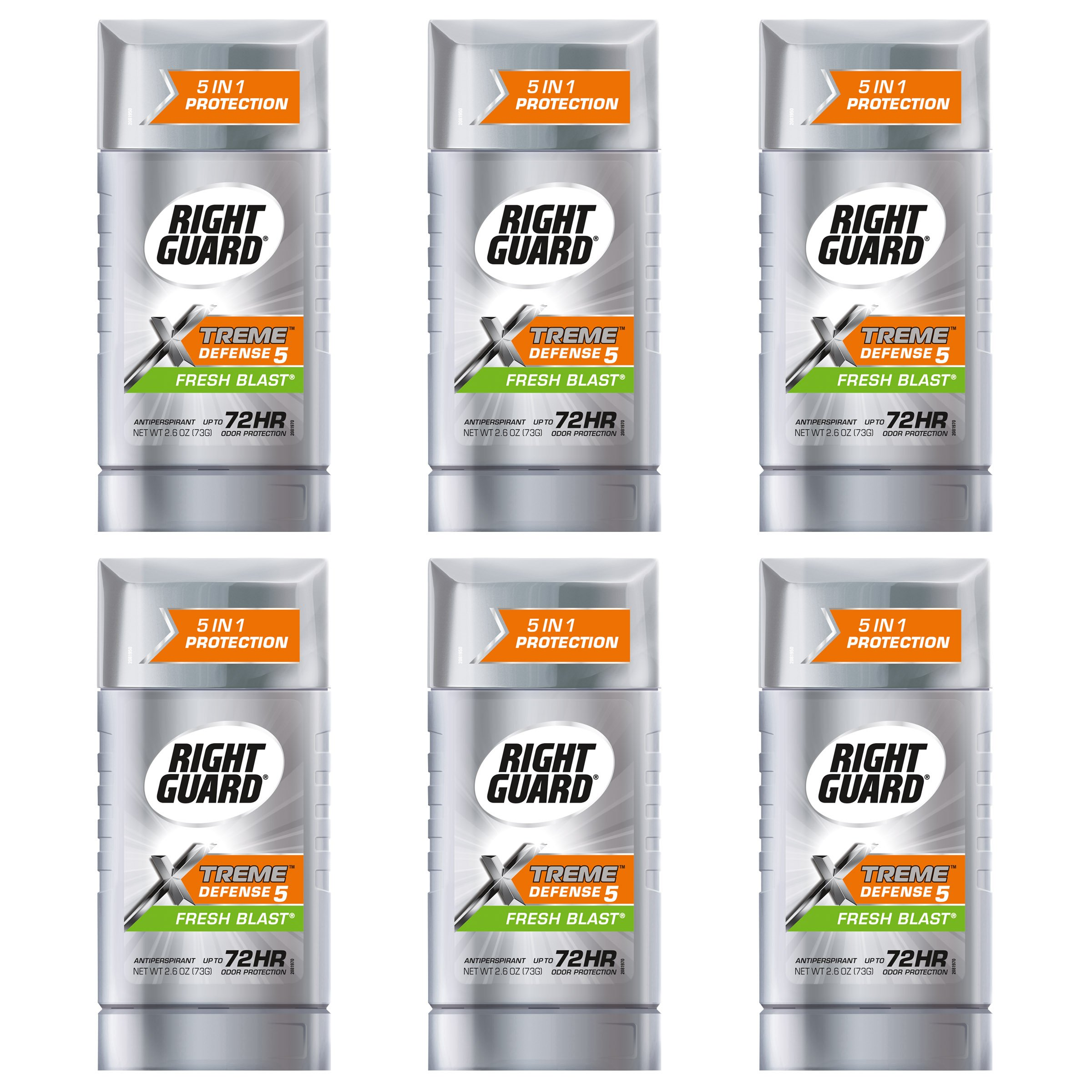 Right Guard Xtreme Defense 5 Anti-Perspirant & Deodorant, Fresh Blast 2.60 oz (Pack of 6)