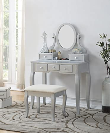 brand new 8d850 f2b24 Roundhill Furniture 3418SL Ashley Silver Wood Makeup Vanity Table and Stool  Set, Sliver