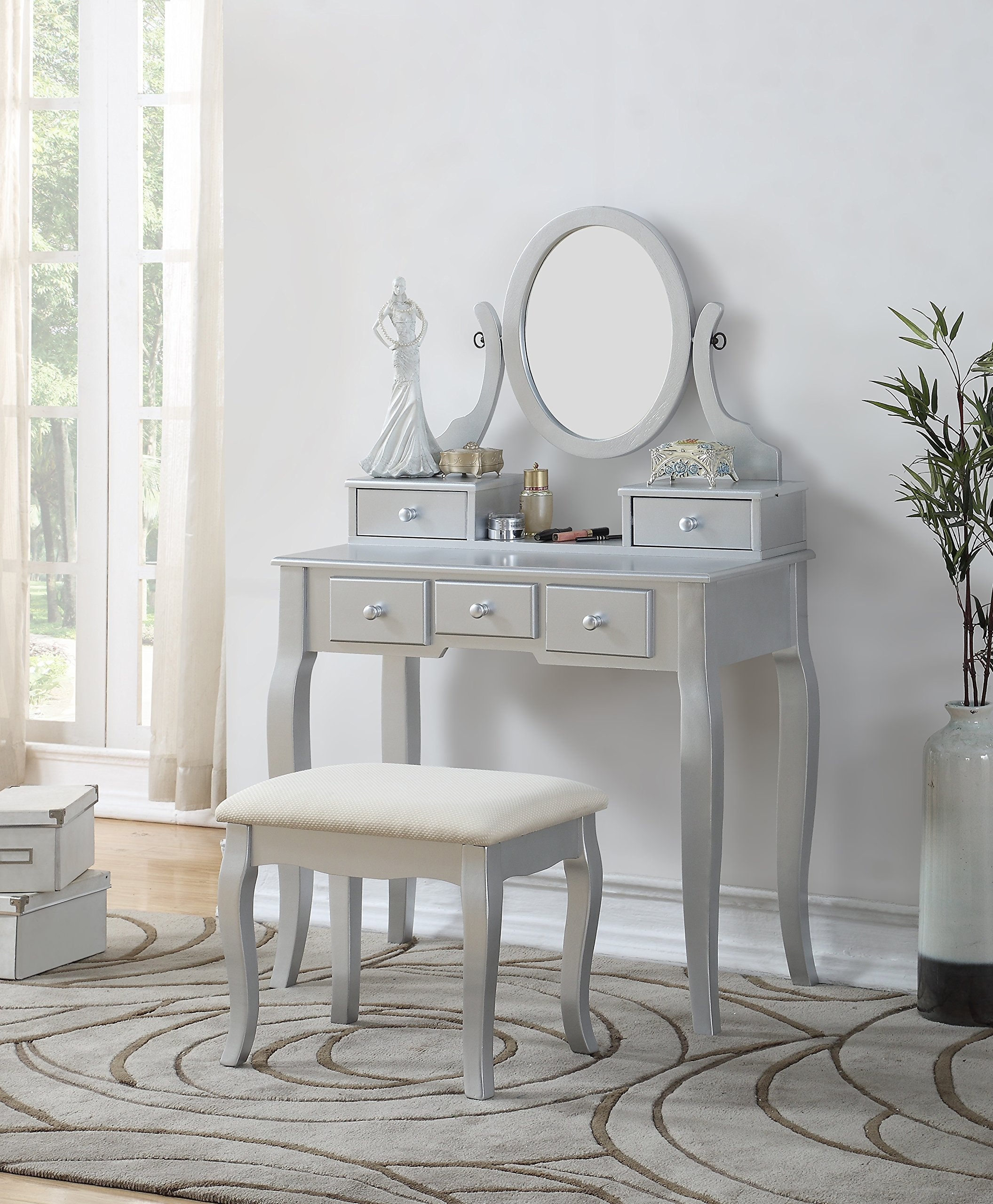 Attirant Silver Vanity Makeup Dressing Table Stool Set 5 Drawer Mirror Jewelry Wood  Desk
