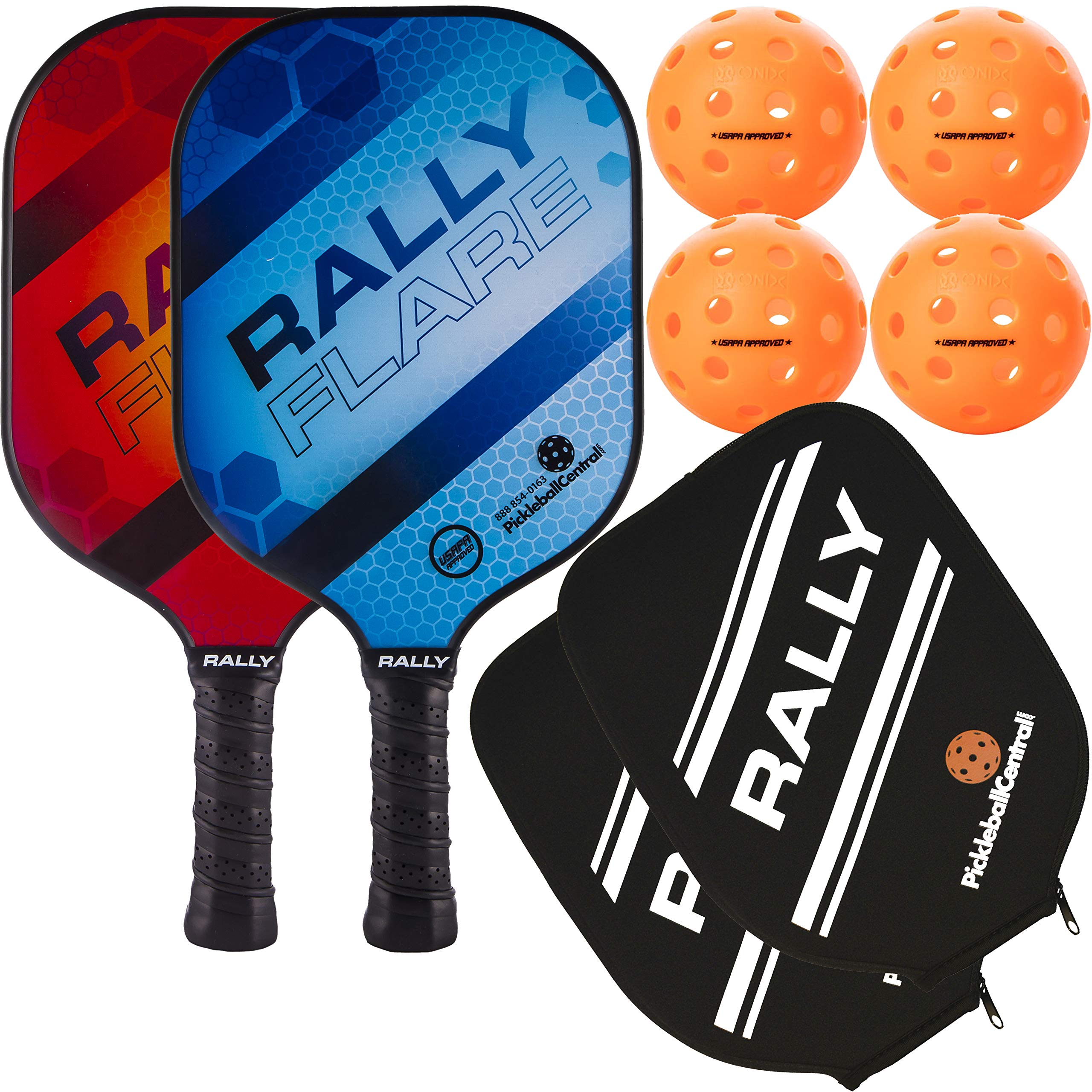 Rally Flare Graphite Pickleball Paddle | Polymer Honeycomb Core, Graphite Hybrid Composite Face | Lightweight (2-Pack Blue/Red with Orange Balls) by PickleballCentral