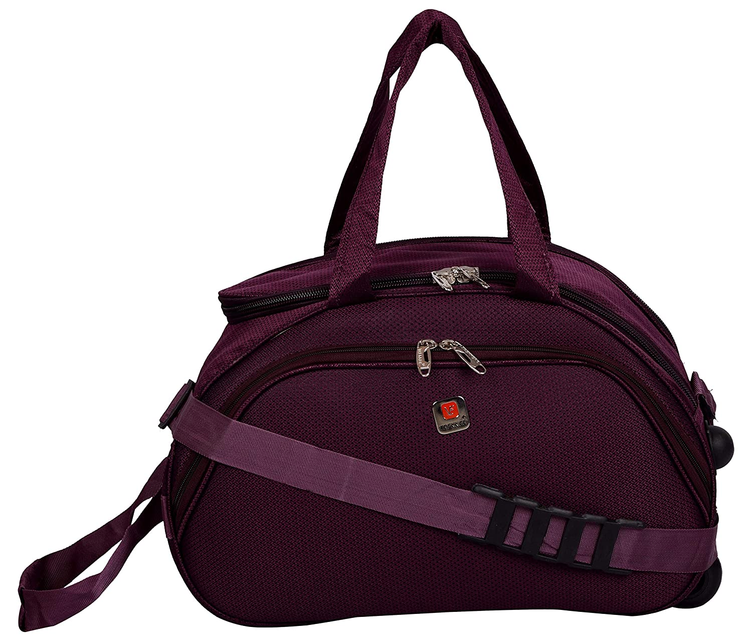 48ebffd08 TREKKER Unisex Red Polyester Travel Duffel Bag with Wheels Size 22-inch:  Amazon.in: Bags, Wallets & Luggage