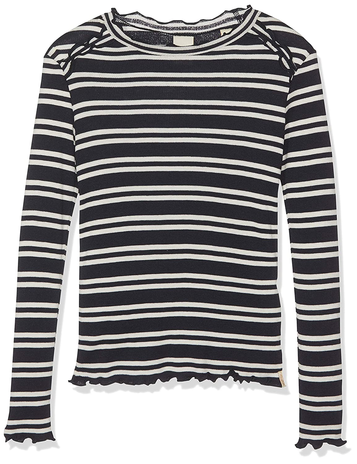 Scotch /& Soda Fitted Long Sleeve Tee in Yarn Dye Stripes with Ruffles Maglia a Maniche Lunghe Bambina