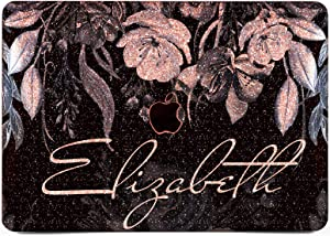 """Cavka Hard Glitter Case for Apple MacBook Pro 13"""" 2019 Retina 15"""" Mac Air 11"""" Mac 12"""" Bling Monogram Silver Print Flowers Sparkly Shiny Initial Watercolor Blue Name Rose Gold Cover Glossy Design Art"""