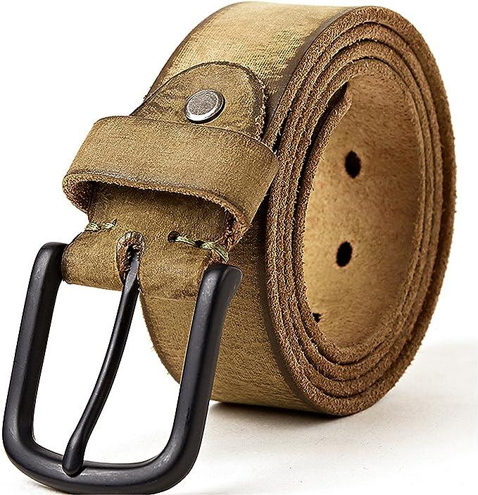 Men/'s Classic Metal Buckle Handcrafted Genuine Italian Full Grain Leather Belt