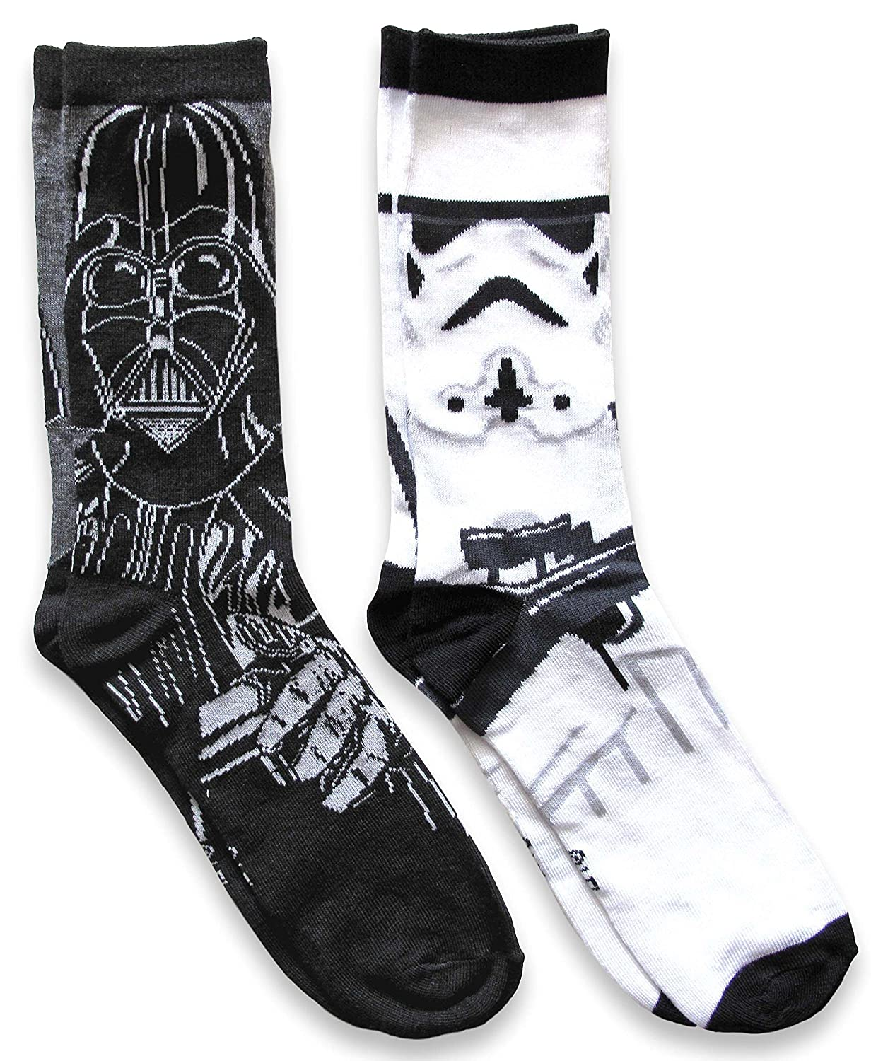 Star Wars Mens Darth Vader & Stormtrooper Casual Crew Socks 2 Pack Hypnotic Hats