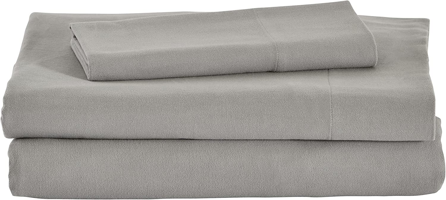 Amazon Brand – Stone & Beam Rustic Solid 100% Cotton Flannel Bed Sheet Set, Twin XL, Heather