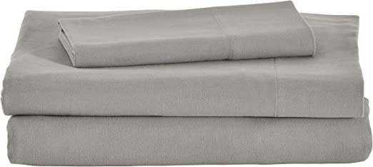 Amazon Com Amazon Brand Stone Beam Rustic Solid 100 Cotton Flannel Bed Sheet Set Twin Xl Heather Home Kitchen