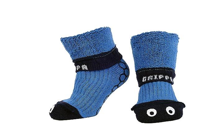 """""""GRIPPA"""" calcetines antideslizantes para niños con diseñoojos azules hechos en Gran Bretaña y"""