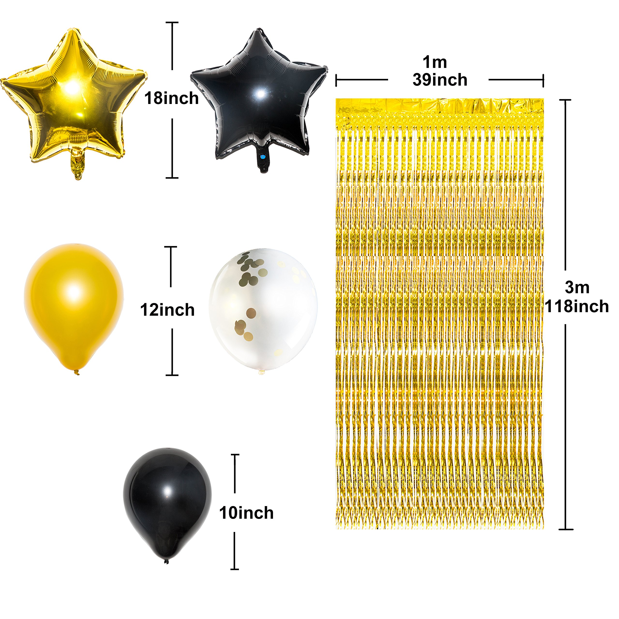 Gold 2019 Graduation Party Balloons Decorations with 10ft Metallic Gold Foil Fringe Curtain Bundle, Pack of 45, Graduation Party Supplies, Large Size, Latex Balloons, Star Balloons, Confetti Balloons by Youngever (Image #3)