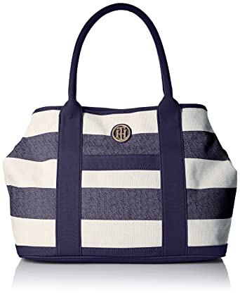 Tommy Hilfiger Shopper Shoulder Bag, Navy/Natural, One Size ...