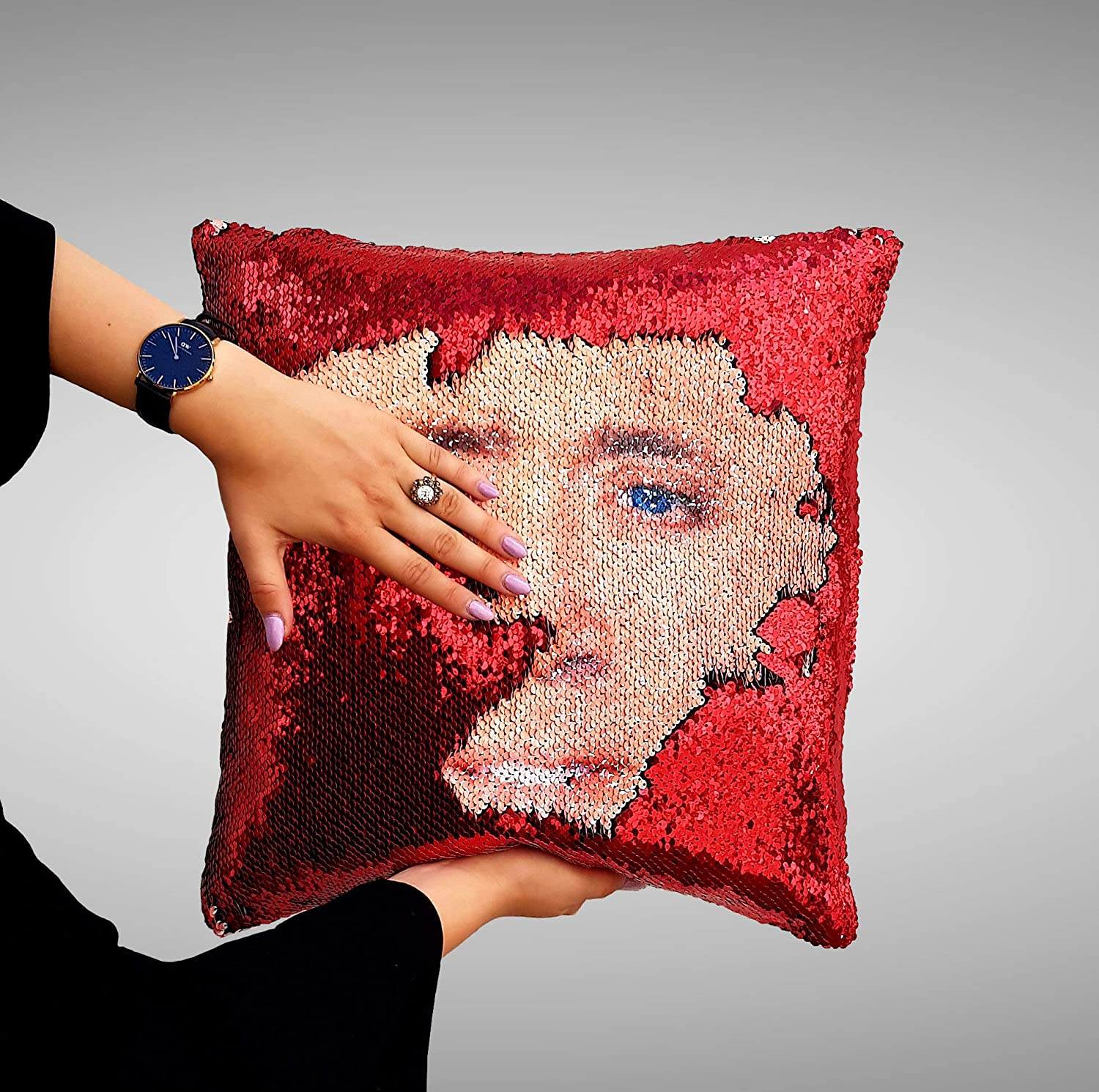 Nicolas Cage face Sequin Pillow, Sequin Pillowcase, Two Color Pillow, Fift for her, Gift for him, Magic Pillow, Mermaid Pillow, Scales Pillow Cover
