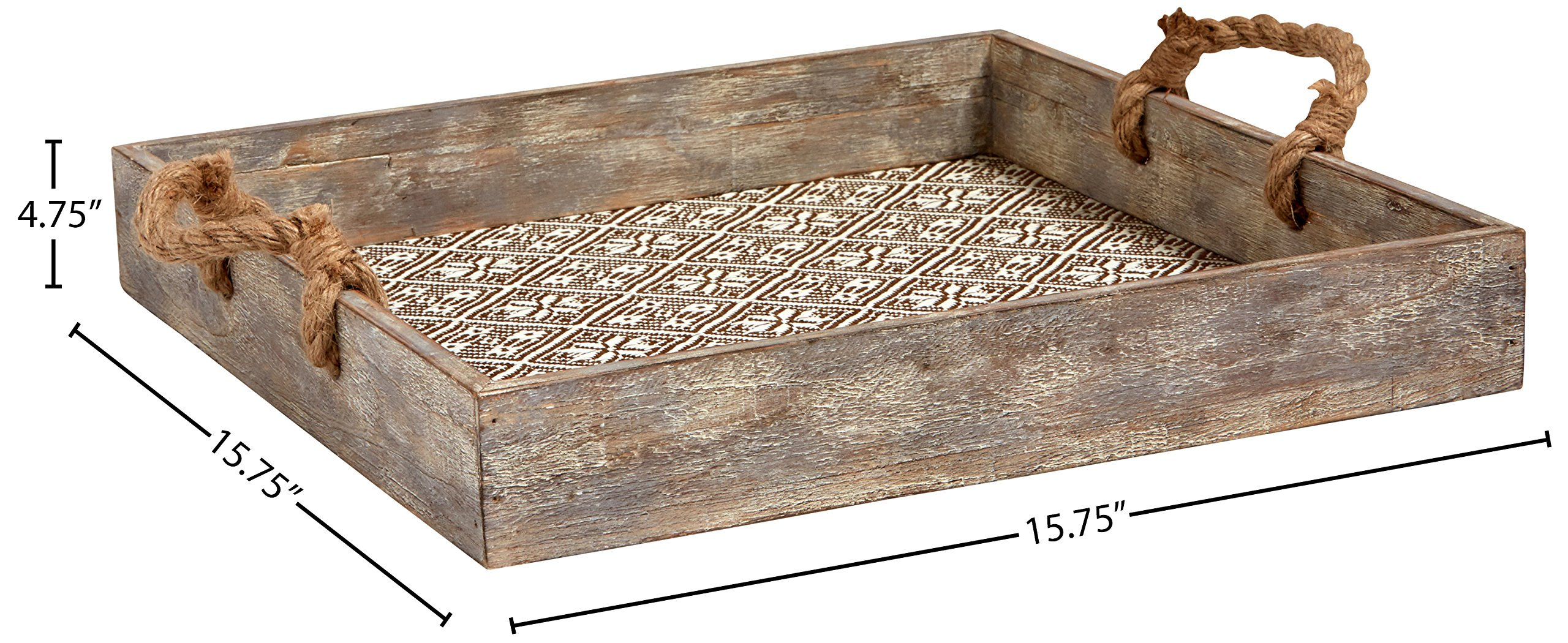 Stone & Beam Vintage Farmhouse Wood and Rope Tray, 15.75''W, White by Stone & Beam (Image #5)
