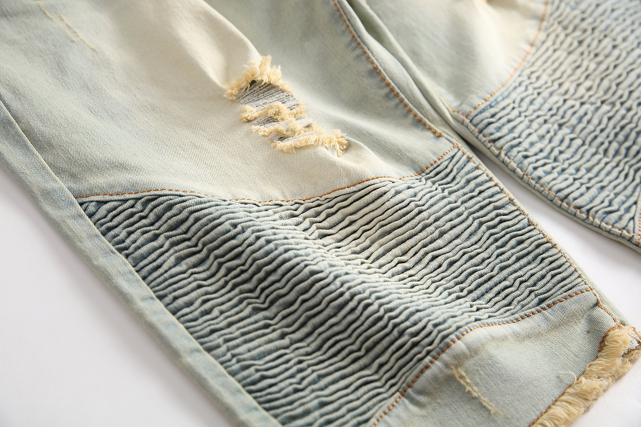 CLANNAD Men's Moto Biker Shorts Jeans Zipper Denim Casual Slim Shorts with Hole Vintage Blue 30 by CLANNAD (Image #5)