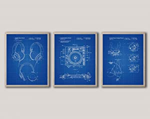 WallBuddy DJ Equipment Invention Posters Set of 3 Music Posters WB557-WB561 (12 x 16, Blueprint)