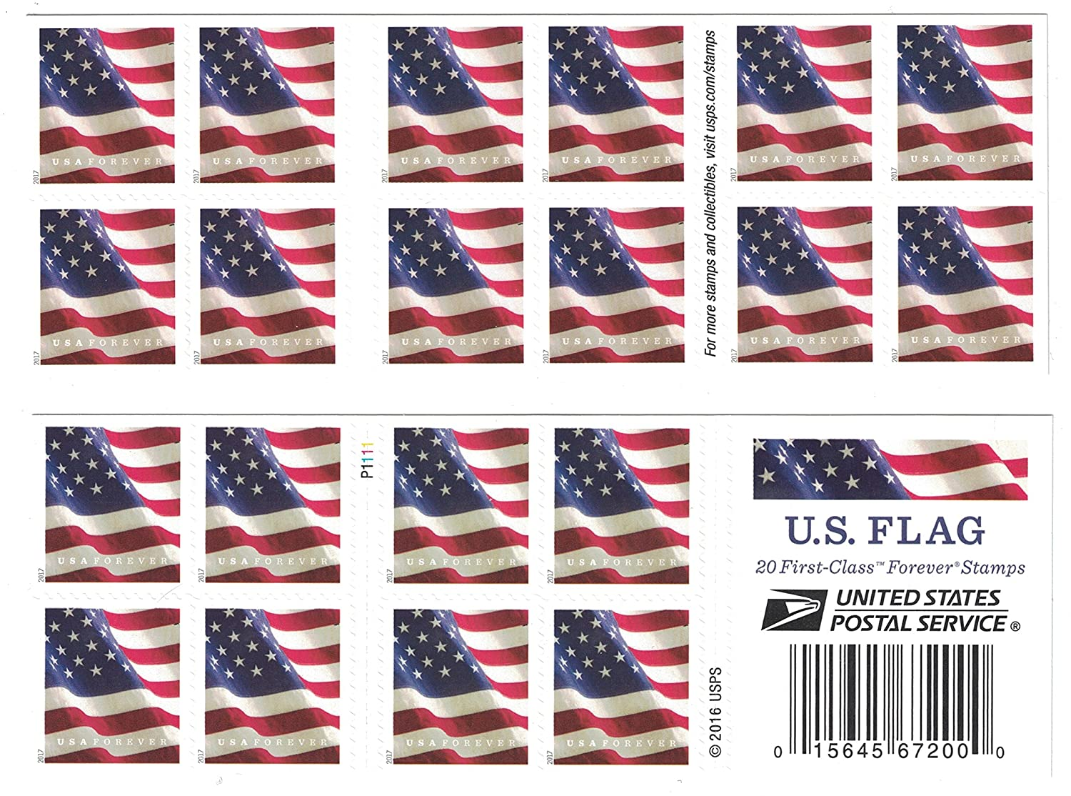 Amazon USPS US Flag 2017 Forever Stamps