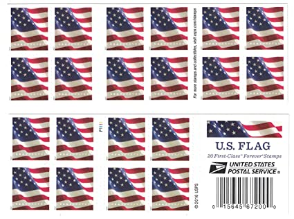 Amazoncom Usps Us Flag 2017 Forever Stamps Book Of 20 Toys Games - United-states-forever-stamps