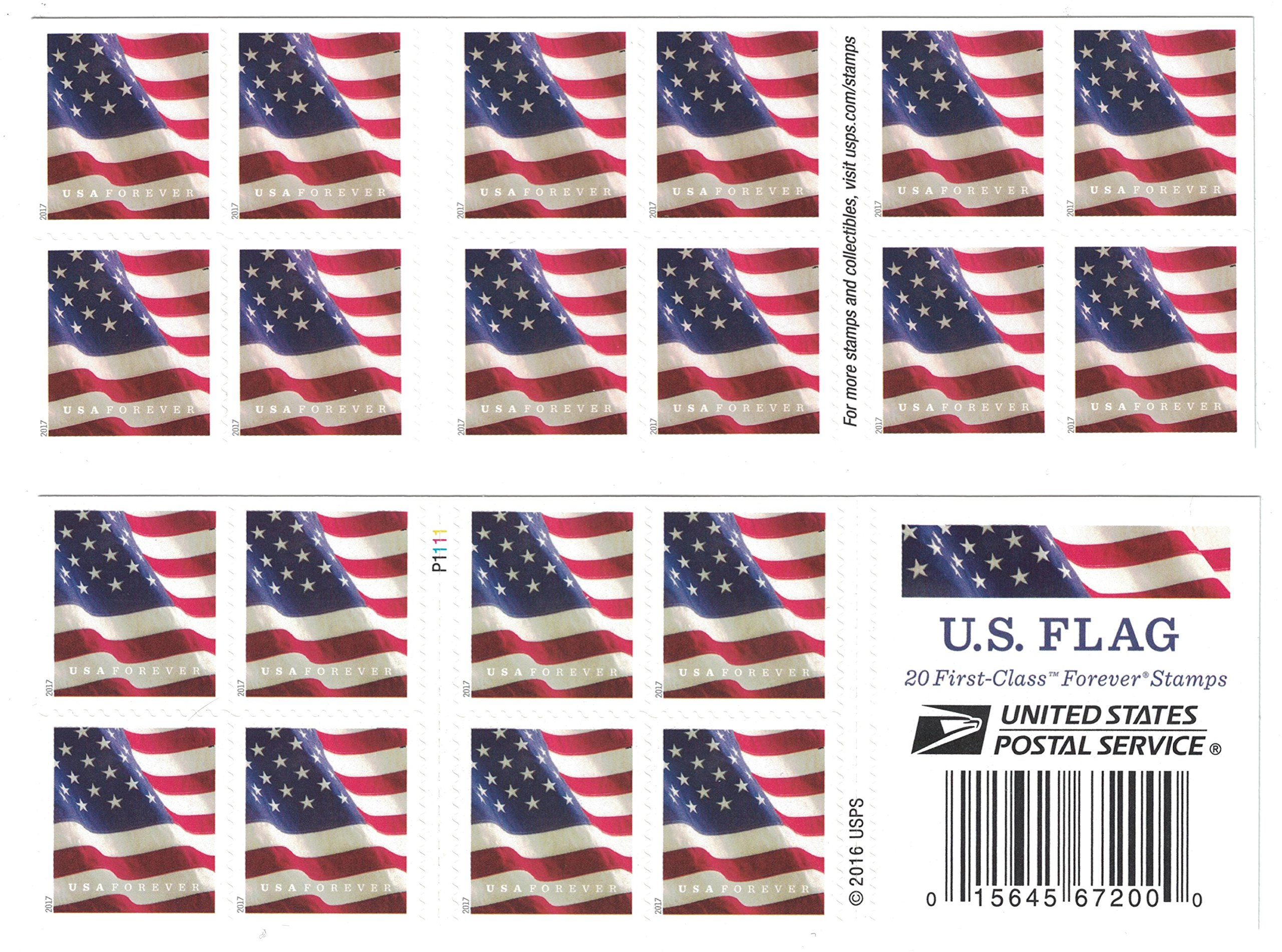 USPS U.S. Flag Forever Stamps, Book of 20-2017, 20 Stamps