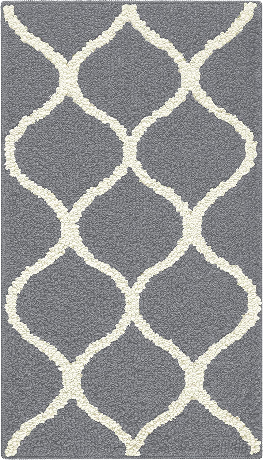 Maples Rugs Rebecca Contemporary Kitchen Rugs Non Skid Accent Area Carpet [Made in USA], 1'8 x 2'10, Grey/White: Furniture & Decor
