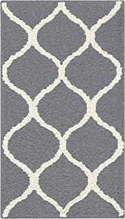 product image for Maples Rugs Rebecca Contemporary Kitchen Rugs Non Skid Accent Area Carpet [Made in USA], 1'8 x 2'10, Grey/White