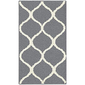 Maples Rugs Kitchen Rug Rebecca 1 8 X 2 10 Non Skid Small Accent Throw Rugs Made In Usa For Entryway And Bedroom Grey White