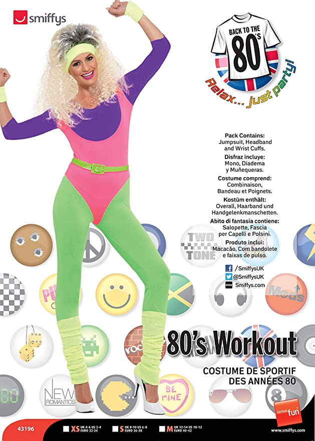 80s Costumes, Outfit Ideas- Girls and Guys Smiffys 80s Work Out Costume with Jumpsuit £22.80 AT vintagedancer.com