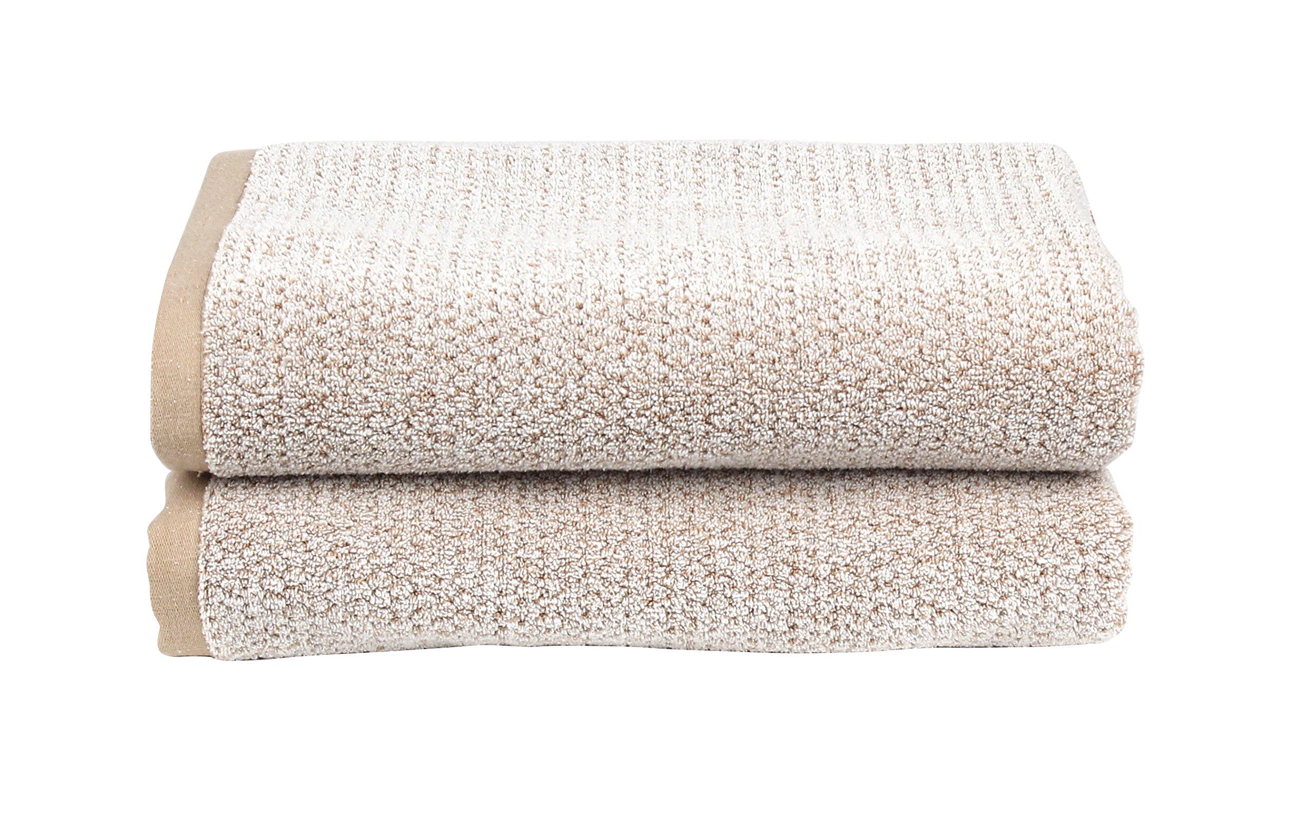 Everplush Diamond Jacquard Bath Towel, Set of 2, Caramel Brown - DJBathTowel2