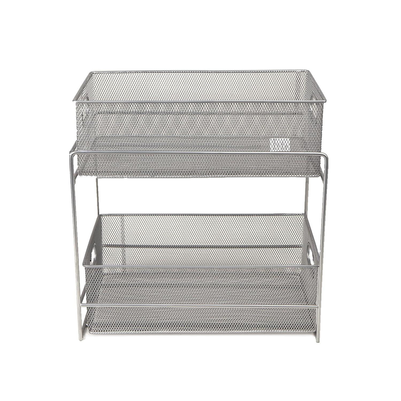 Mind Reader 2 Tier Metal Mesh Storage Baskets Organizer Home Office Kitchen Bathroom Silver