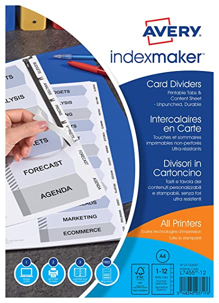 Amazon.com : Avery 1 Customizable Card Game White Dividers ...