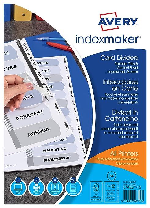 Avery España 01732061 - Separadores personalizables con etiquetas transparentes, 12 pestañas, 297 x 225