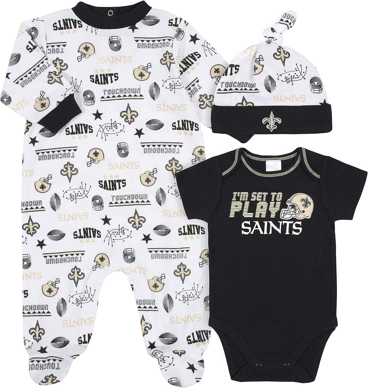 NFL NFL Baby-Boy 3 Pack Bodysuit Sleep n Play Footie Cap Registry Gift Set: Clothing