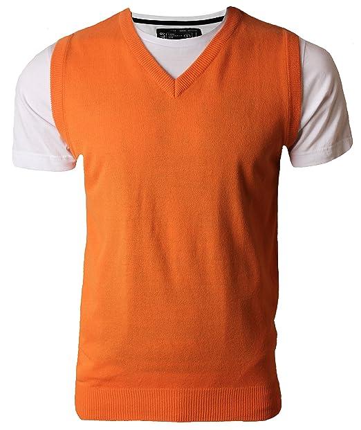 para Hombre Kiabi sin Mangas V Cuello Jersey, Camiseta de Tirantes Fashion Jersey Prendas de Punto Pullover Naranja Naranja Small: Amazon.es: Ropa y ...