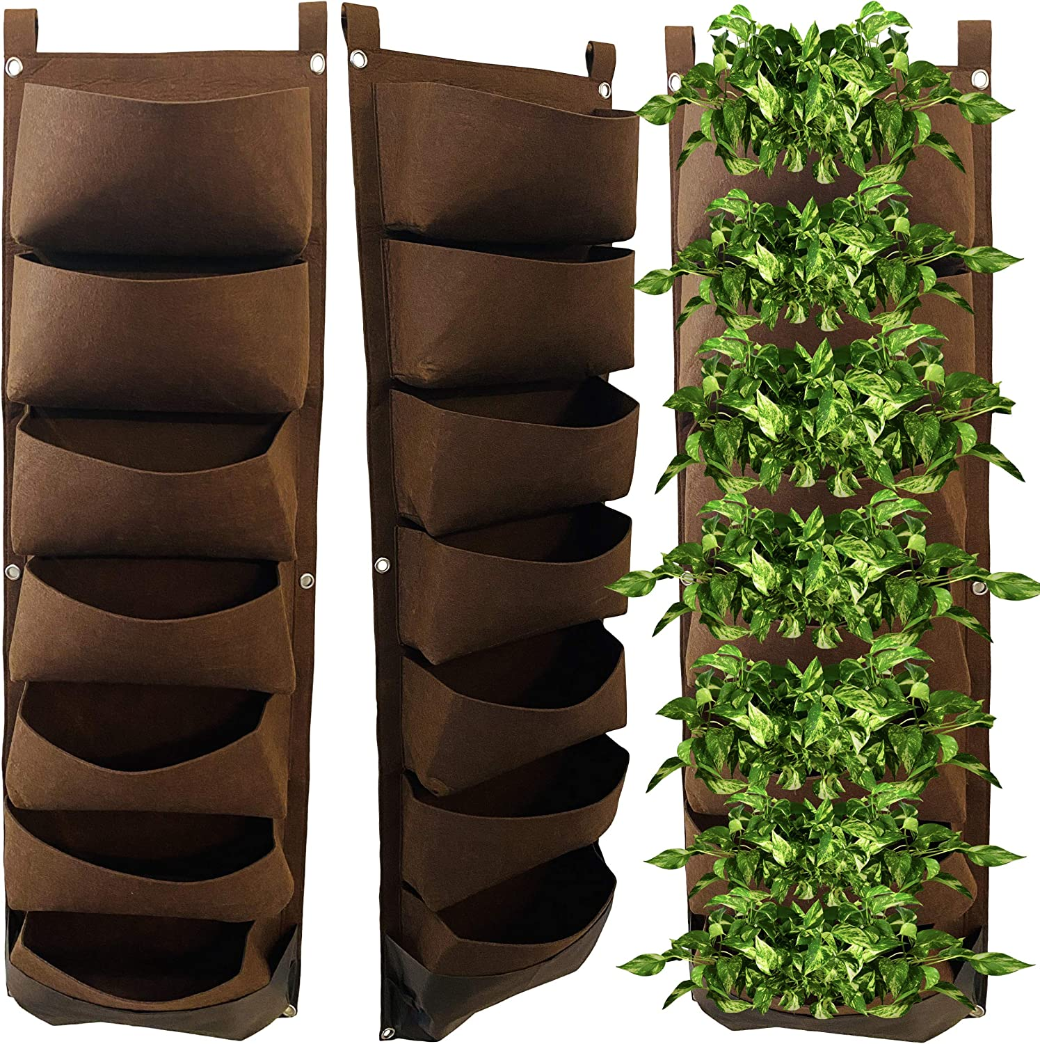 Vertical Wall Planter for Indoor Plants & Outdoor. Vertical Garden w/ 7 Pockets Waterproof. Herb Garden Strawberry Planter. Indoor Vegetable Garden. Wall Planter for Patio Balcony Fence. Plant Hanger