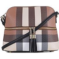 SG SUGU Lightweight Medium Dome Crossbody Bag with Tassel | Plaid Pattern