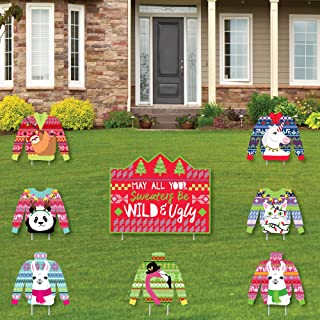 product image for Big Dot of Happiness Wild and Ugly Sweater Party - Yard Sign and Outdoor Lawn Decorations - Holiday and Christmas Animals Party Yard Signs - Set of 8