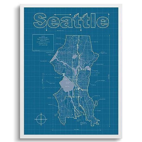 Seattle Map Seattle Washington Wall Art Map Blueprint